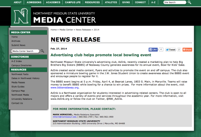 BBBS bowling press release